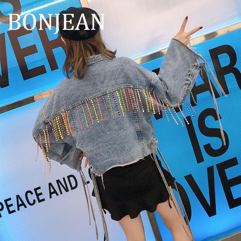 Bonjean Красочные женский брючный костюм с вышивкой бисером для Для женщин 2019 Весенняя верхняя одежда свободные синие джинсы куртка лоскутное Короткие джинсы пальто BJ1009