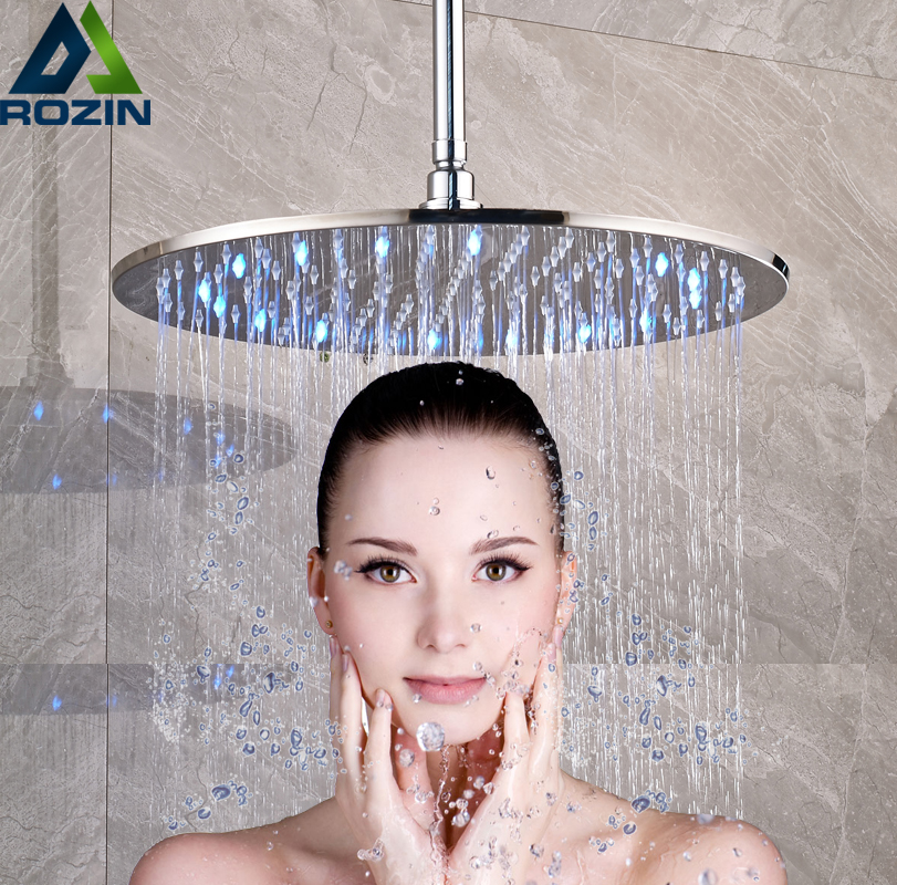 Brushed Nickel 16 inch LED Light Shower Head Rainfall Round Big Showerhead with Brass Shower ArmBrushed Nickel 16 inch LED Light Shower Head Rainfall Round Big Showerhead with Brass Shower Arm