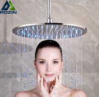 Brushed Nickel 16 inch LED Light Shower Head Rainfall Round Big Showerhead with Brass Shower Arm