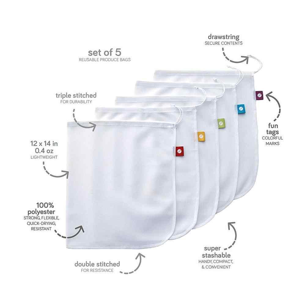 5 pçs/set Premium Reutilizável Corda Malha Produzir Sacos de Armazenamento De Brinquedo Cozinha Frutas Vegetais Sacos de Cordão Bolsa de Saco De Compras De Malha