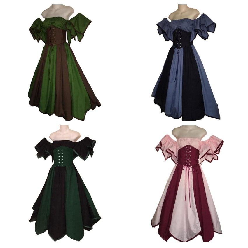 Woman Shoulder Off Wedding Party Elegant Dress Floral Ball Gown Vintage Retro Victorian Palace Court Wear Princess Costume