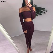 Xnxee Off Shoulder Long Sleeve Sexy Bodycon Dress Women Autumn Winter Two Piece Strapless Party Dresses Casual Sweater