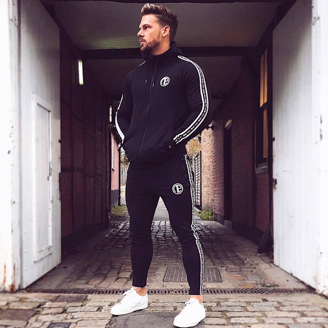 Nuevo conjunto de ropa deportiva para correr para hombre, chándales de gimnasia, sudaderas + Pantalones, ropa de entrenamiento - 3