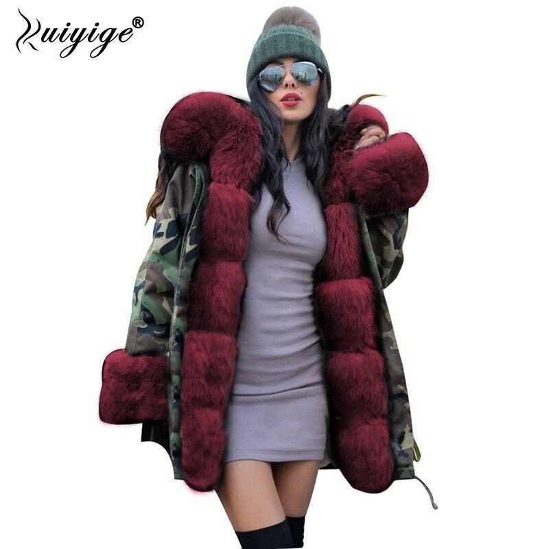 Ruiyige 2018 New Women Winter Coat Red Fur Hooded Jeans Jacket Woman   Parkas   Winter Long Warm Coats Female Winter   Parka   Plus Size