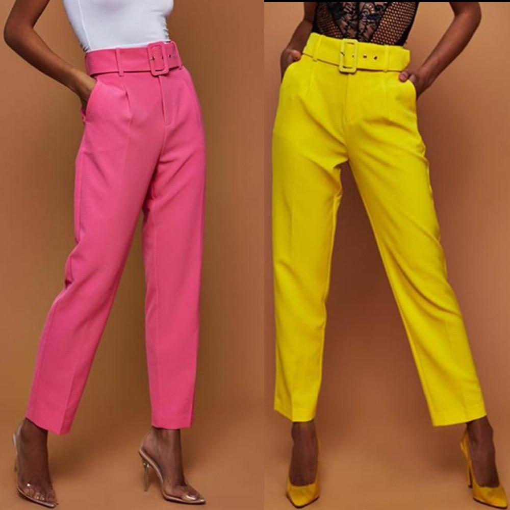 Повседневные брюки с высокой талией и прямым поясом осенние женские офисные костюмы брюки женские брюки купить на AliExpress