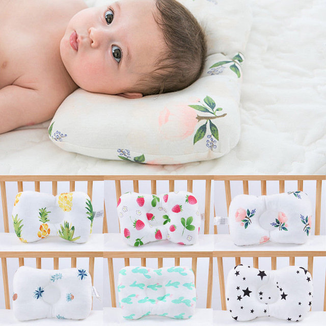 Baby Pillows Newborn Breathable Shapping Pillow Prevent Anti Roll Flat Head Cushion Pillows Plant Infant Girl Boy Baby Bedding