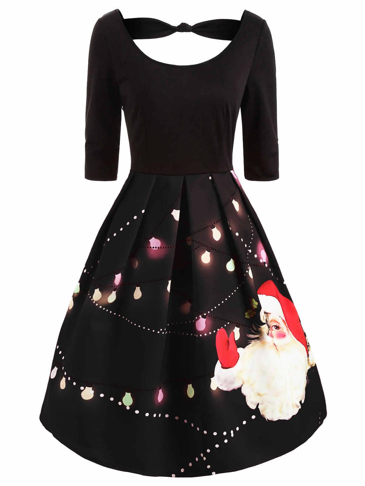 Wipalo/Винтажные вечерние платья с рождественским принтом Санта-Клауса, женское платье с круглым вырезом и коротким рукавом, платье по колено, облегающее и расклешенное платье, Vestidos