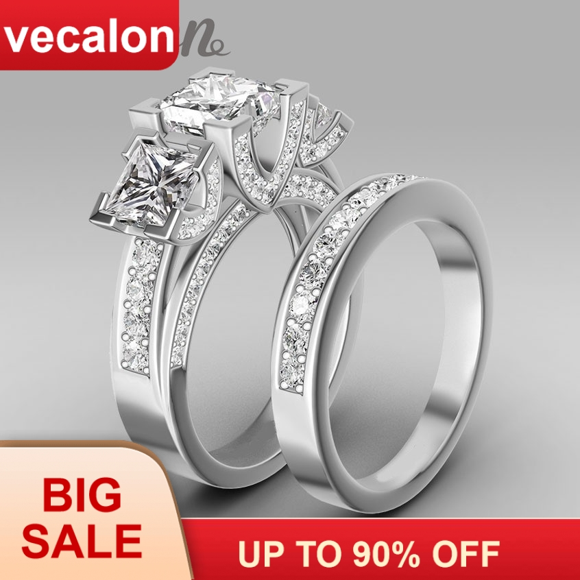 Vecalon Handmade Fashion Ring Wedding Band Ring For Women 6ct 5A Zircon Cz Ring 925 Sterling Silver Engagement Finger Ring