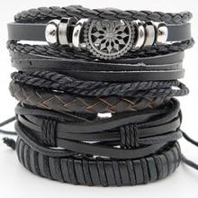 5pcs/set New Arrival Mens leather Braided Wrap bracelets Handmade Punk Retro leather Wristband Hemp Cord bracelets Jewelry Gifts