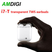 AMDIGI Transparent Cover i7 TWS Earbuds True Stereo Twins Earpieces Stereo Wireless Earphone with Charging Box(China)