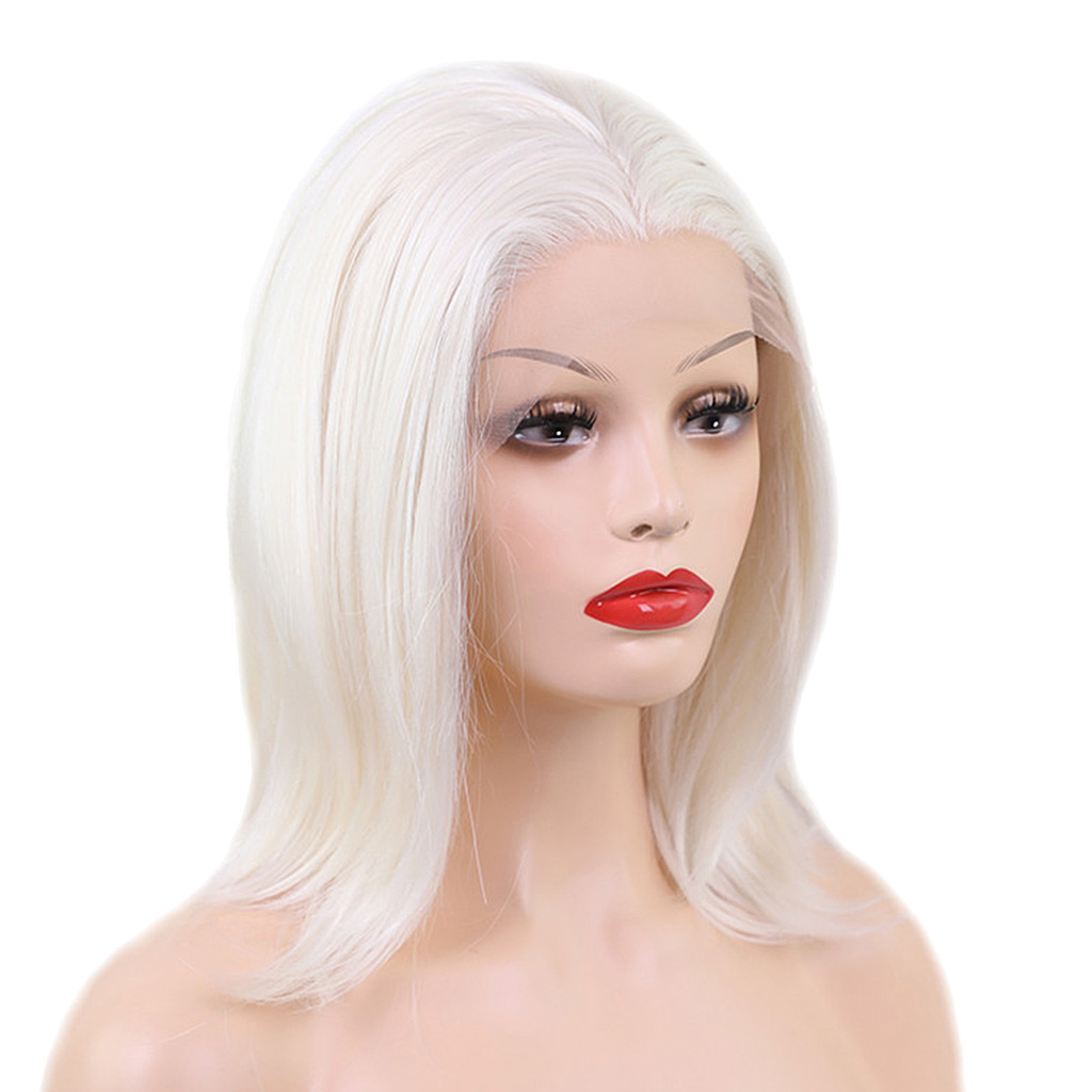 Natural Lace Front Wigs for Black Women Synthetic Hair Middle Part Wig Beige Straight Styling