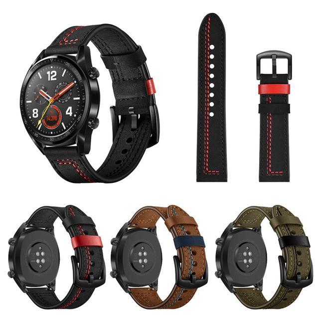 22 MILLIMETRI di Smart Orologio Sportivo Cinghia di Strato Superiore di Modo di Ricambio In Pelle Cinturino di Vigilanza 7 Forma Vigilanza Del Wristband Magic Band 2019 nuovo
