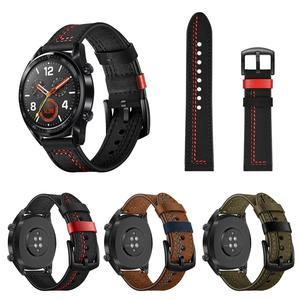 Image 1 - 22MM Smart Sports Watch Strap Top Layer Fashion Replacement Leather Watch Strap 7 Shape Wristband Watch Magic Band 2019 New