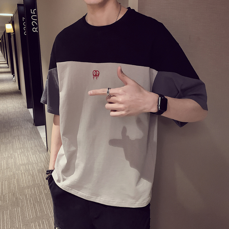 95% Cotton Summer Patchwork   t     shirt   for men Half sleeve Black Grey RedM-3XL