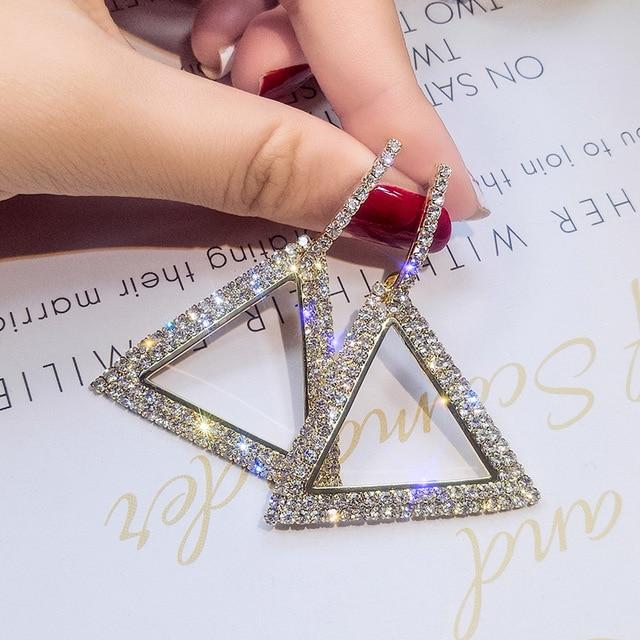 Новый дизайн креативные ювелирные изделия высокого класса элегантные серьги с кристаллами треугольник Золотые и Серебряные Серьги Свадебная вечеринка серьги для женщин