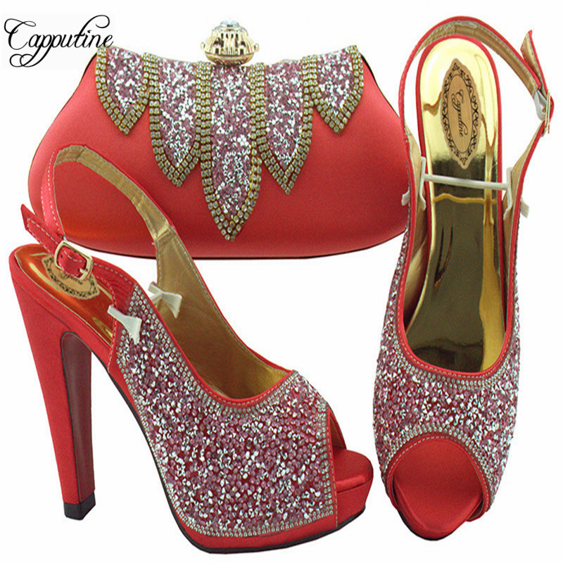 Capputine New Arrival Elegant Woman Shoes And Matching Bag Set Fashion Rhinestone Pumps 12CM Shoes And Bag Set For PartyCapputine New Arrival Elegant Woman Shoes And Matching Bag Set Fashion Rhinestone Pumps 12CM Shoes And Bag Set For Party