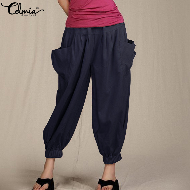 Celmia Women Vintage Linen Pants 2019 Summer Big Pockets Female High Waist Trousers Elastic Casual Loose Capris Pants Plus Size