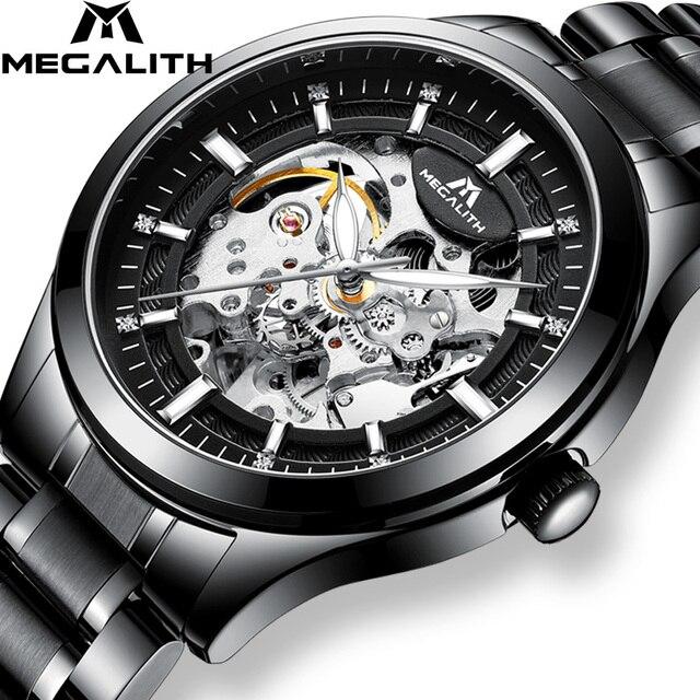 MEGALITH שלד Mens שעונים למעלה מותג יוקרה כסף פלדה מכאני אוטומטי שעונים עמיד למים שעונים שעון Montre Homme