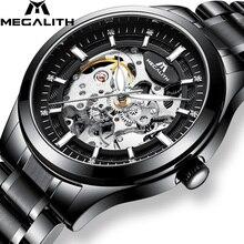 MEGALITH الهيكل العظمي رجالي ساعات العلامة التجارية الفاخرة الفضة الصلب الميكانيكية ساعات أوتوماتيكية مقاوم للماء الساعات ساعة Montre أوم