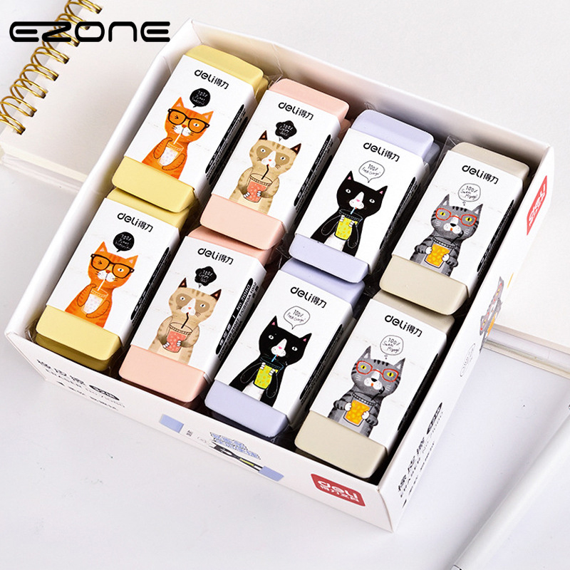EZONE 1PC Cartoon Cute Cat Pattern Eraser High Quality Rubber Few Dandruff Good Elasticity Students Pencil Eraser School Supply