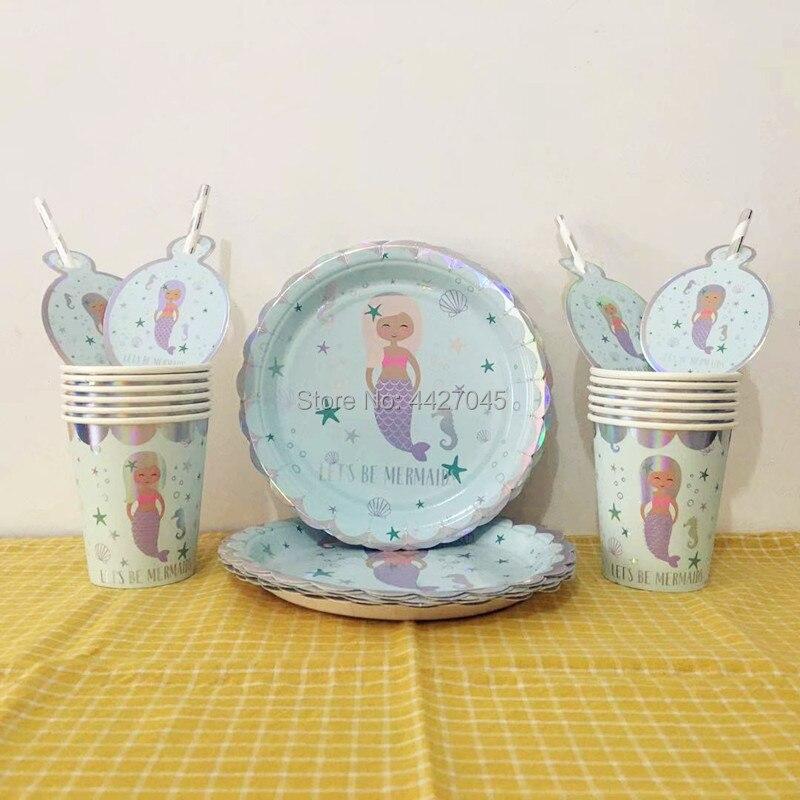 36pcs/lot Shiny Silver Let's Be Mermaid Theme 12pcs 7inch Paper Plates + 12pcs Paper Cups + 12pcs Straws Party Tableware Set