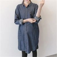 Maternity Shirt Casual Loose Denim Jacket For Pregnant Women Long Sleeves Shirts 2019 New Arrival Large Size Maternity Clothing