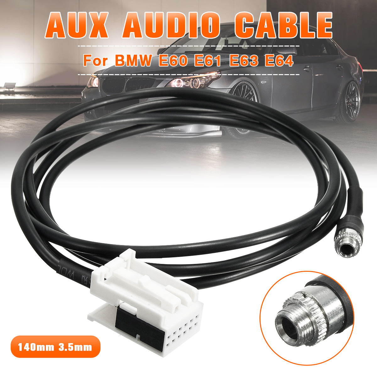 New 3.5mm 12PIN Female Black AUX Audio Input Kit Adapter Music Cable Wire For BMW E60 E61 E63 E64 AUX IN ADAPTER