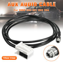 Kit de entrada de áudio aux 3.5mm, adaptador de cabo de música preto para bmw e60 e61 e63 e64 adaptador aux in