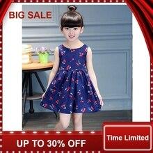 Girls Dress Casual Cherry Print Toddler Ball Gown Princess Dress Cotton Sleeveless Kids Vestidos Baby Girl Clothes недорого