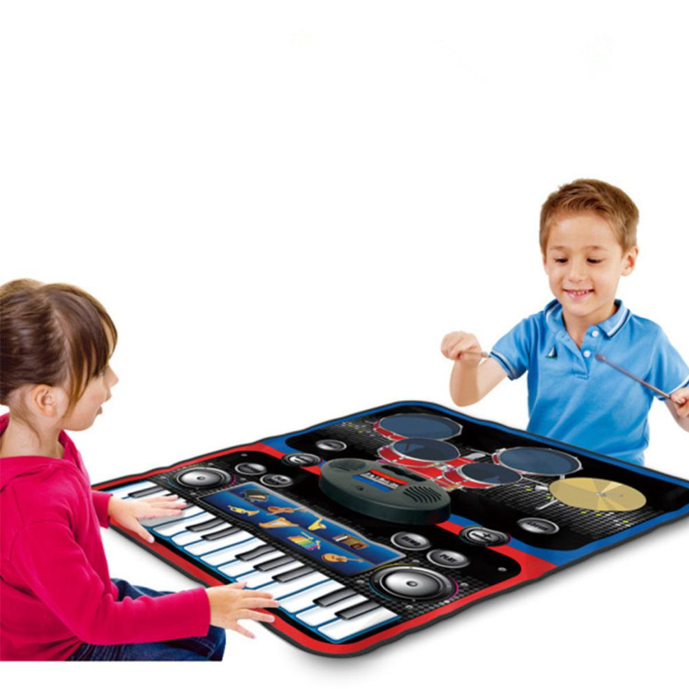 LeadingStar Kids 2 en 1 tapis de jeu de musique avec batterie et clavier couverture musicale jouets éducatifs Piano jouet Musical électronique