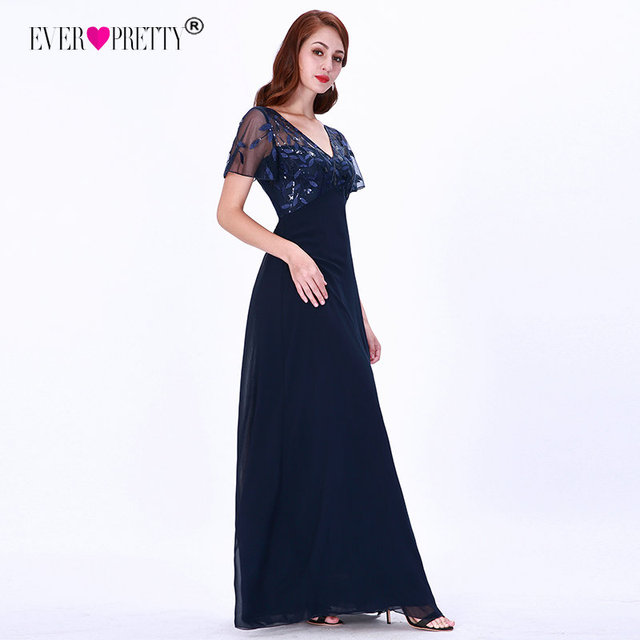 Mother Of The Bride Dresses Ever Pretty Elegant Navy Blue A-line Short Sleeve Chiffon Lace Embroidery Party Gowns For Wedding 4