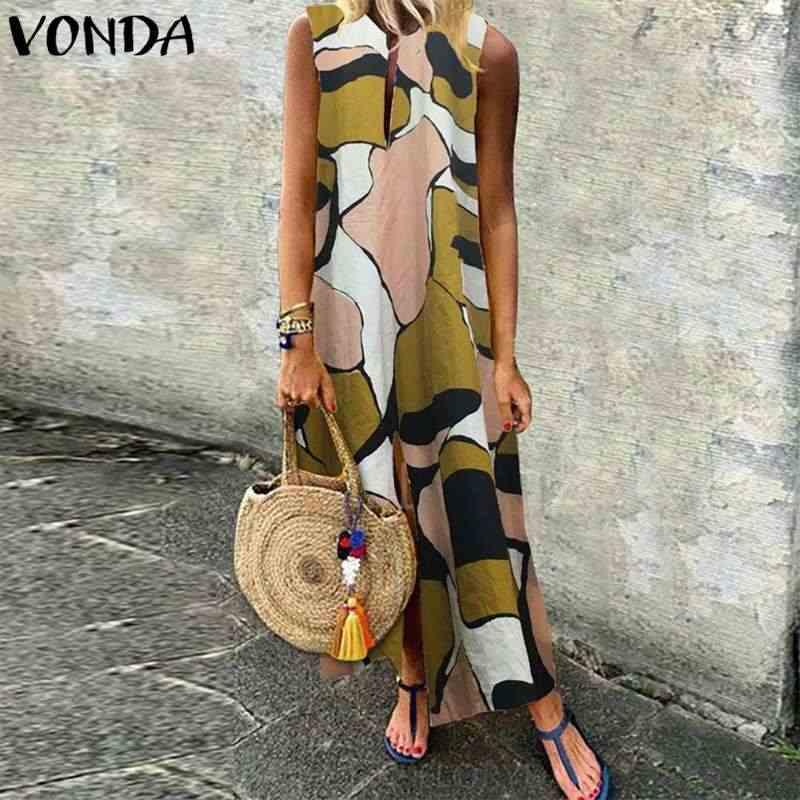 VONDA женские богемные Длинные платья 2019 Летние повседневные свободные печатные сексуальные платья с v-образным вырезом сплит без рукавов до щиколотки мешковатые Vestido