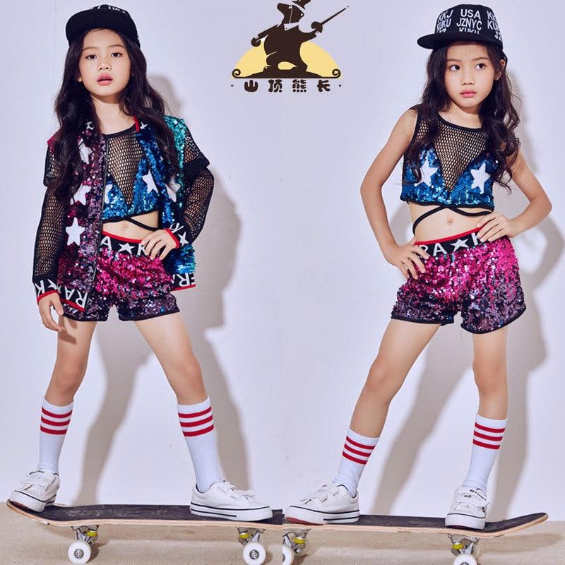 Street Dance Wear Costume Girls Performance Sequins Modern Kid Hip Hop Clothes K