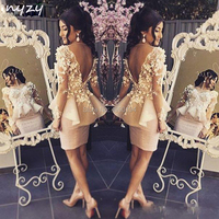 NYZY C7 Short Cocktail Dress Long Sleeves Backless Rosettes Elegant Wedding Party Dress Graduation Homecoming Evening 2019