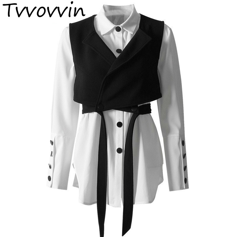 TVVOVVIN Two Piece Sets Lantern Long Sleeve White Lace Up Short Vest Women s Shirts Set