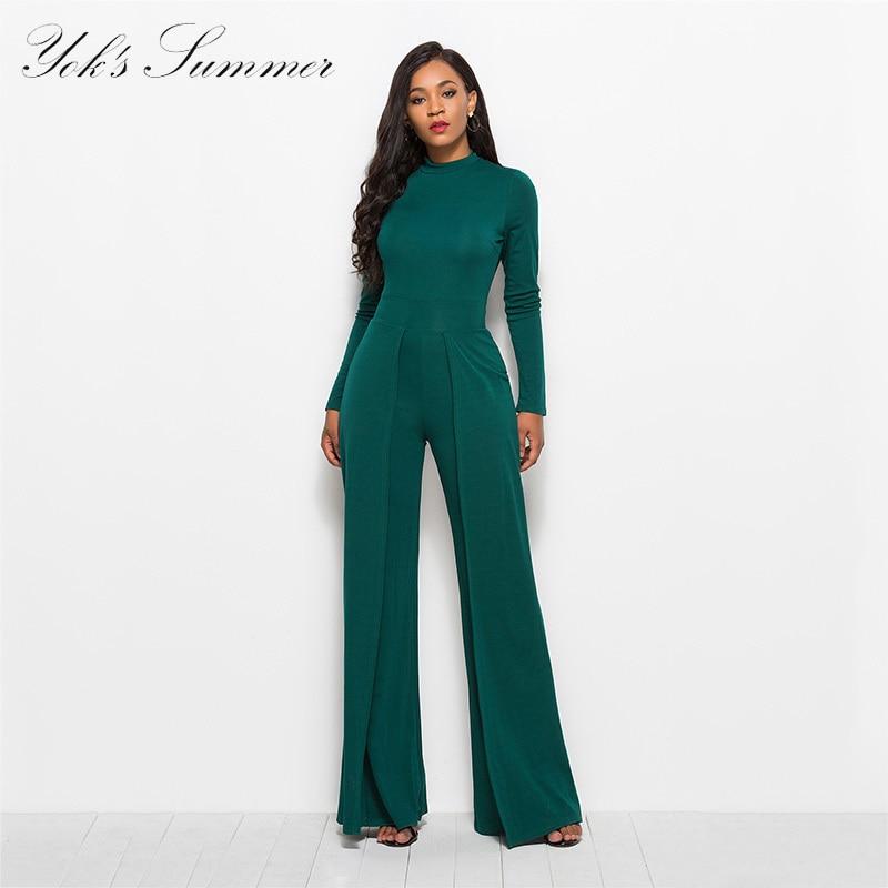 Yok nouvelle mode de Corps de Femmes Combinaisons à manches longues robe large Pour Dames Bureau Solide Vêtements Globale Pour Femme Costume F02
