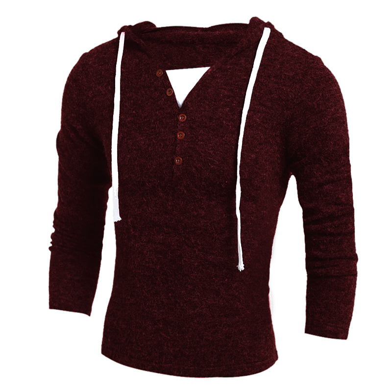 Men's Sweater  Fashion Brand Hooded Sweaters Casual Knitted Pullover Solid Color Knitwear Slim Men Jumpers Pull Homme XXL