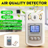 Digital Air Quality Monitor PM2.5 Formaldehyde Detector HCHO TVOC Gas Analyzer Temperature Meter Sound Light Alarm for Home Car