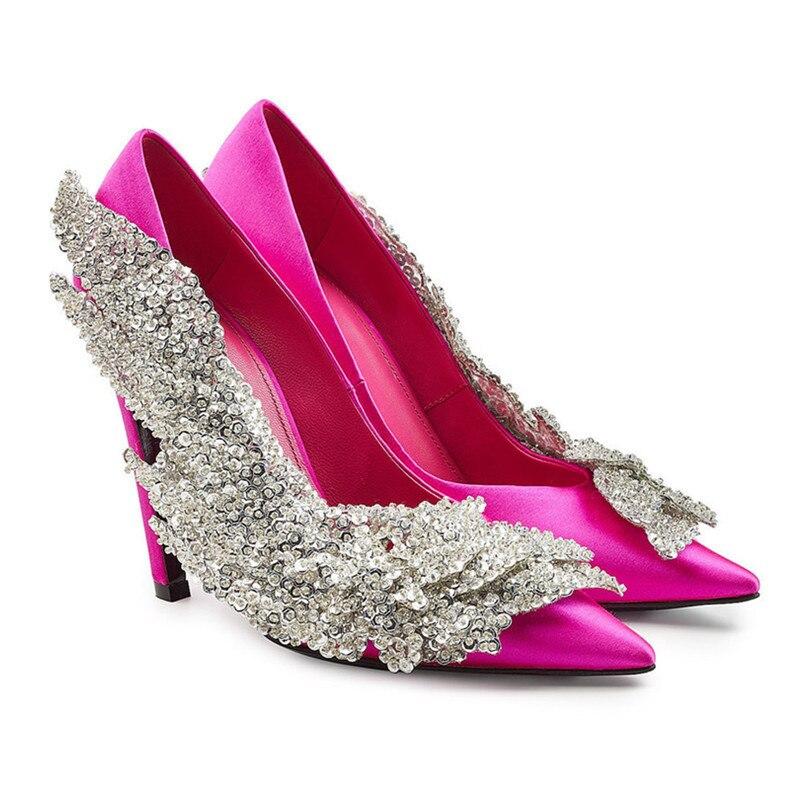 Pumpt Frau Heels Satin Luxus Schuhe Hochzeit Frauen Kleid Strass High F 5ALRqc3S4j