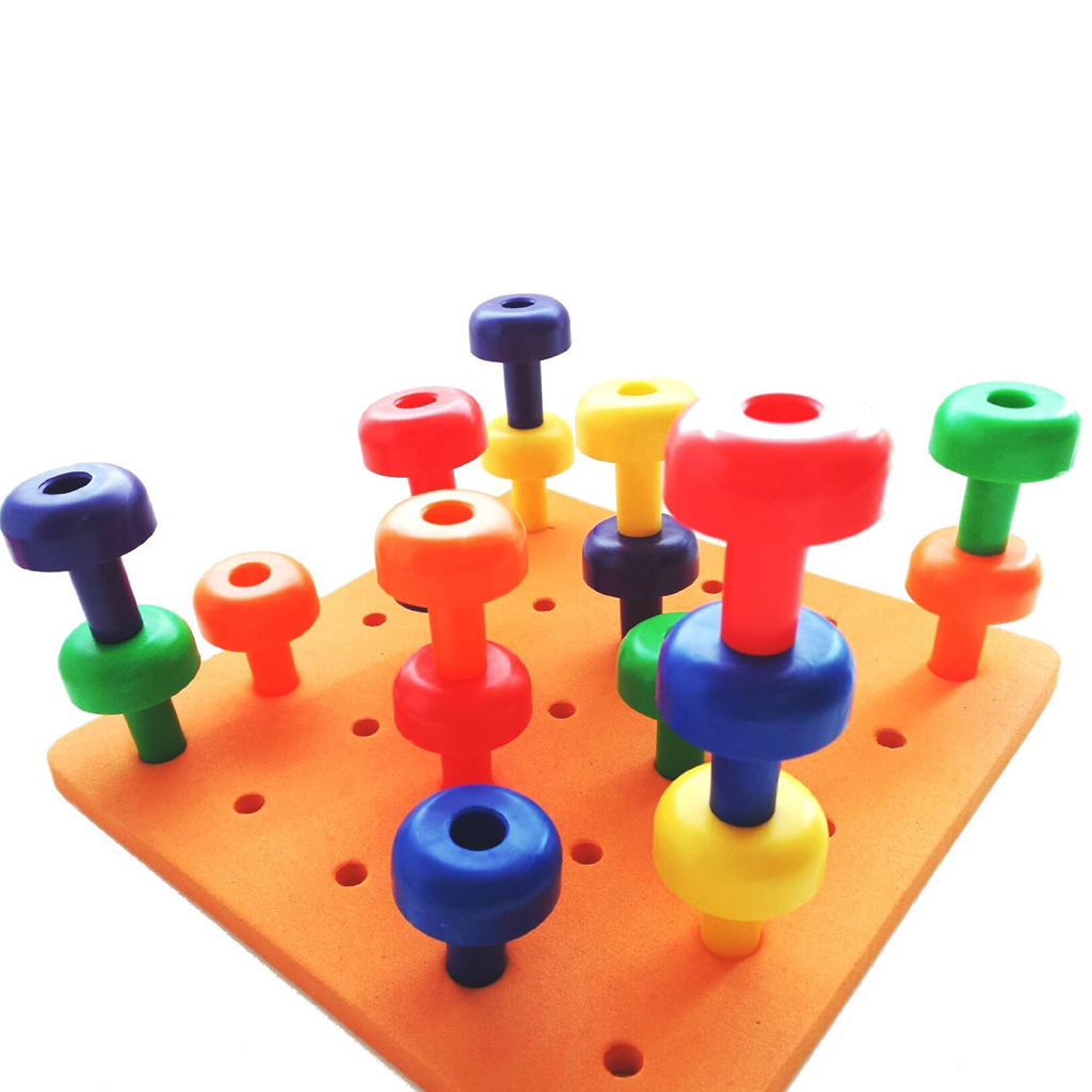 30Pcs Tall Stackers Peg Board - For Fine Motor Skills Occupational Color & Shapes Developmental Games Sortting Toys