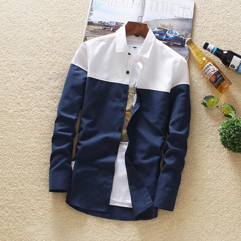 Men's Long Sleeve Shirt 2019 Spring And Autumn Top Leisure Sex Color Long Sleeve Shirt Trend Men's Cardigan Shirt Men stitching 1