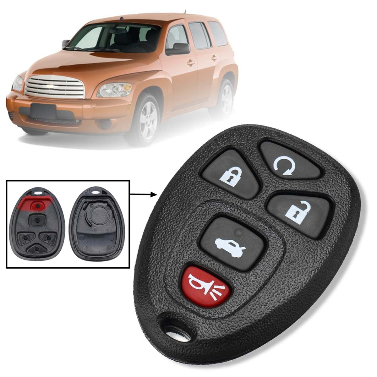 5 Buttons Remote Key Shell Keyless Fob Case Rubber Pad Alarm Remote Start Replacement for Buick Lucerne Cadillac DTS Chevrolet Impala Monte Carlo Black