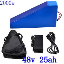 цена на 48V 2000W triangle battery 48V 25AH electric bike battery 48V 25AH lithium battery with 54.6V charger and free bag duty free