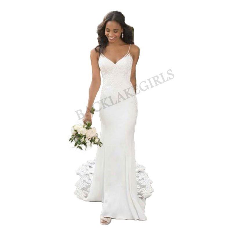 620206b4e2 2019 Appliques Soft Satin Wedding Dresses Sweetheart Neck Simple Sleeveless  Bride Dress A-line Elegant