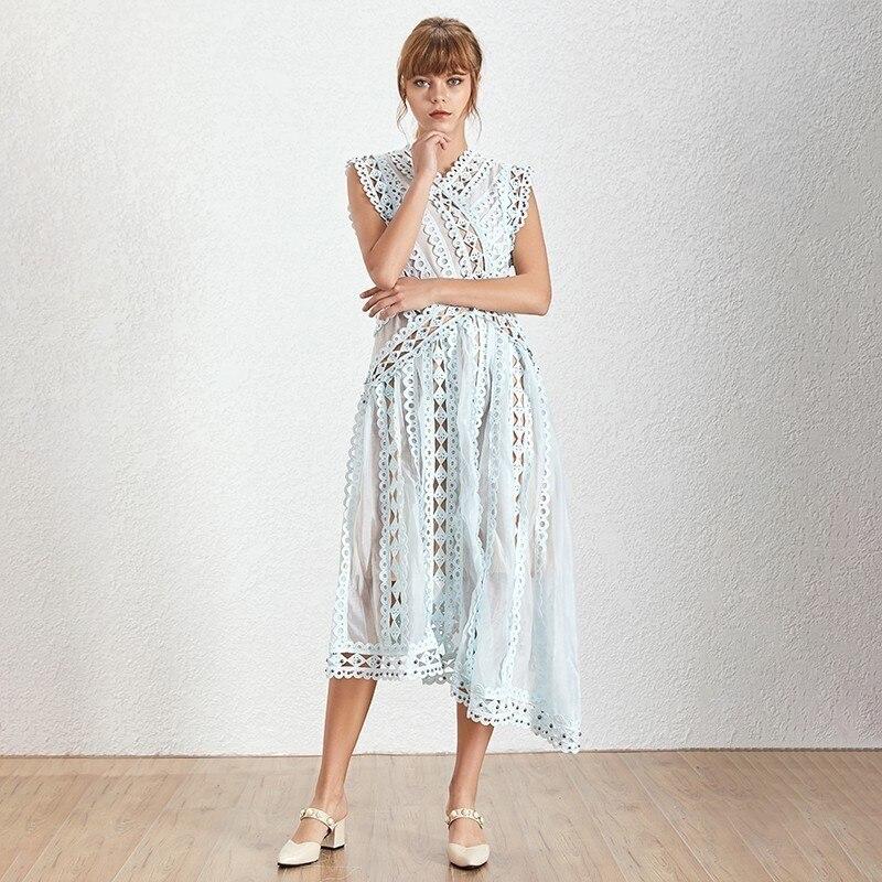 Kadın Giyim'ten Elbiseler'de TWOTWINSTYLE Boncuk Elbise Kadın Hollow Out Patchwork V Boyun Kollu Yüksek Bel Asimetrik Elbiseler Kadın Zarif Yaz'da  Grup 2