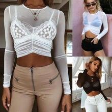 aa4db9ca10bdeb NEW Stylish Women Mesh Sheer See-through Long Sleeve Crop Top T Shirt Black  White