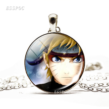 Fashion Anime Naruto Shippuden Necklace Pendant Glass Dome Cabochon Uzumaki Uchiha Sasuke Jewelry Accessories Gift