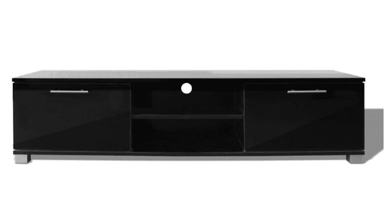 VidaXL Glossy Zwarte TV Kast Modern Design Woonkamer Meubels TV Stands Met 4 Kabel Outlets Stevige Constructie - 3