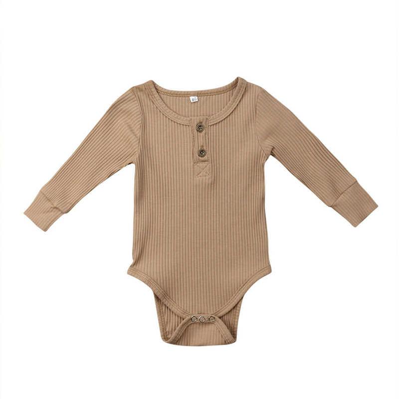 Sơ sinh Bodysuit New Unisex Bé Bodysuits Chàng Trai Cô Gái Ruffle Một Mảnh Bodysuit Dệt Kim Dài Tay Áo Jumpsuit Màu Rắn Sunsuit
