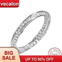 Vecalonที่ไม่ซ้ำกัน925 Sterling Silver Infinity Ring 5A Zircon Czงานแต่งงานแหวนสำหรับเจ้าสาวของขวัญ